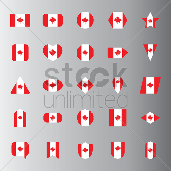 collection of canada flag icons vector graphic