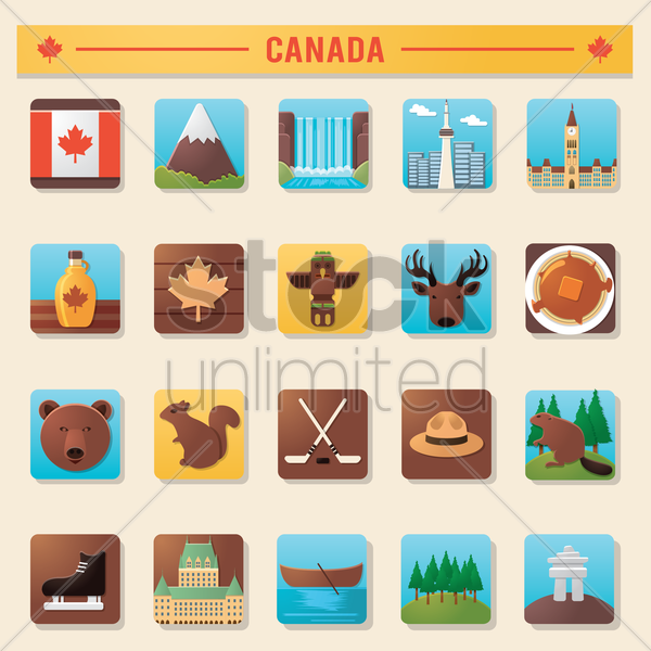 collection of canada icons vector graphic