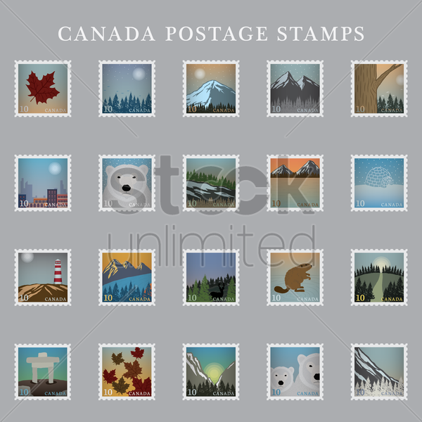collection of canada postage stamps vector graphic