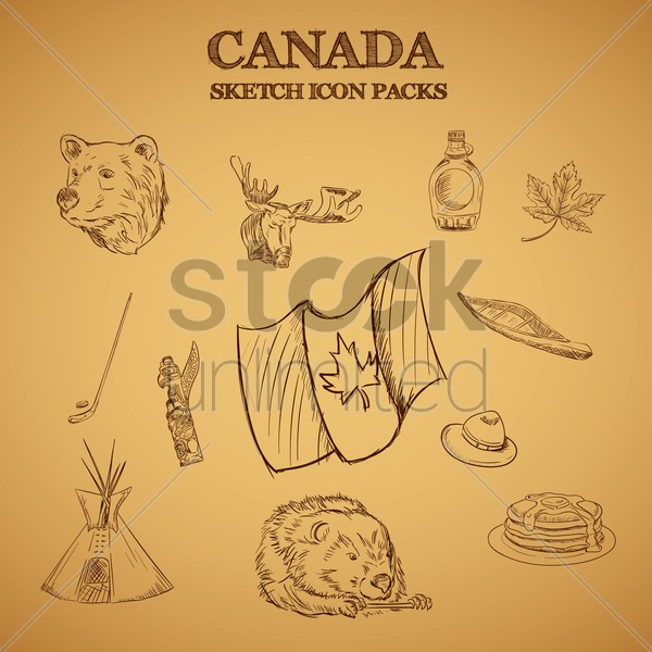 collection of canada sketch icon packs vector graphic