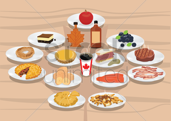 collection of canadian food and beverages vector graphic