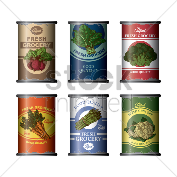collection of canned vegetables vector graphic