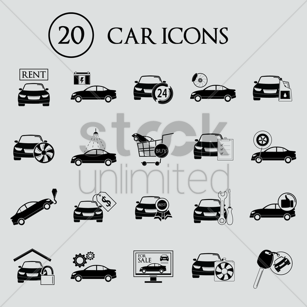 collection of car icons vector graphic