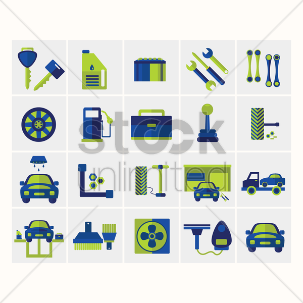 collection of car related objects vector graphic
