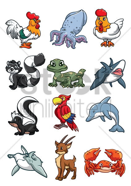 collection of cartoon animals vector graphic
