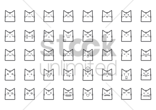 collection of cat expressions vector graphic