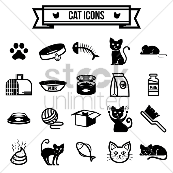 collection of cat icons vector graphic