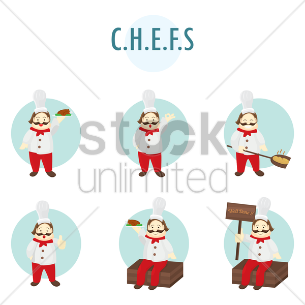 collection of chef characters vector graphic