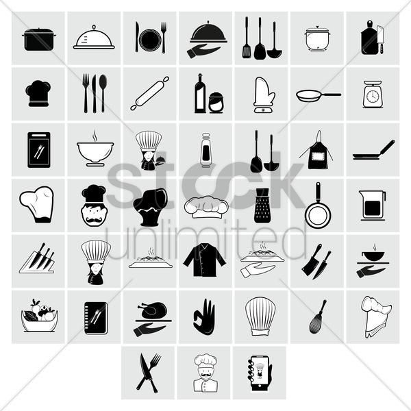 collection of chef icons vector graphic