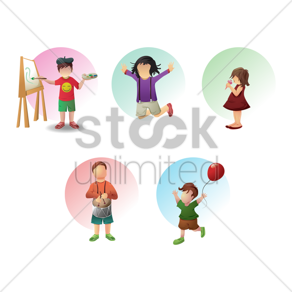 collection of children and activities vector graphic