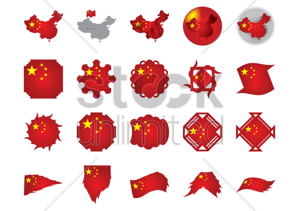 collection of chinese flag icons vector graphic