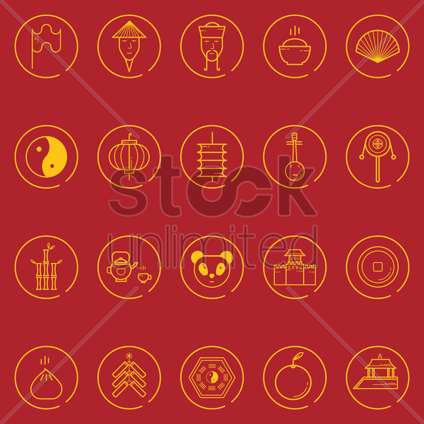 collection of chinese icon vector graphic