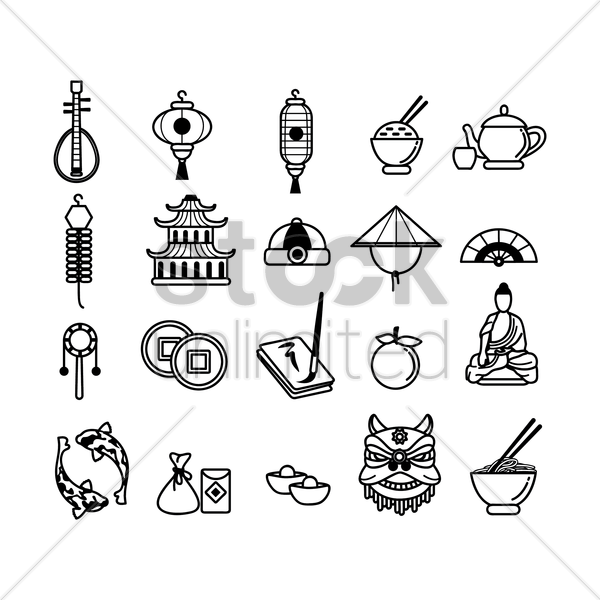 collection of chinese icons vector graphic