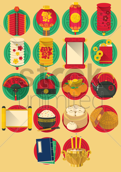 collection of chinese items vector graphic