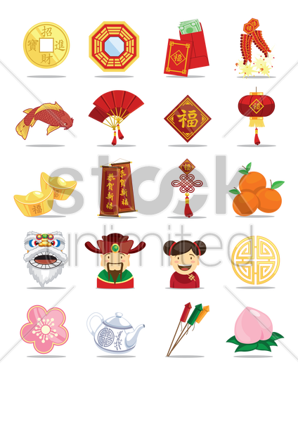 collection of chinese new year items vector graphic