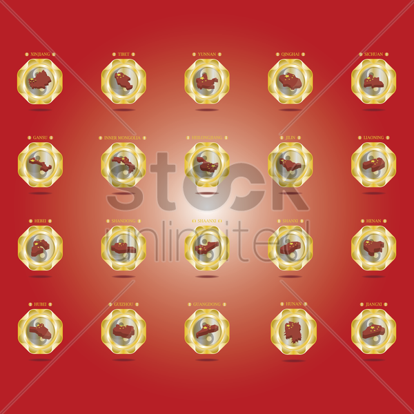 collection of chinese provinces vector graphic