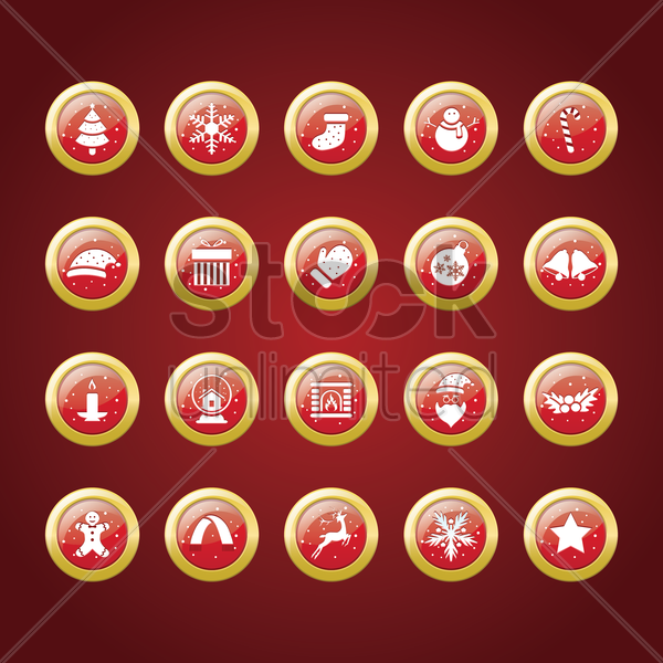 collection of christmas button vector graphic