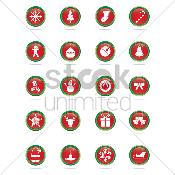 collection of christmas buttons vector graphic