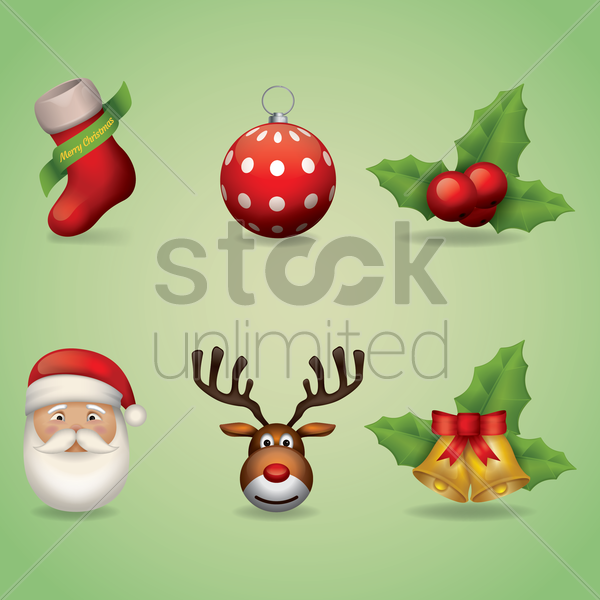 collection of christmas icons vector graphic
