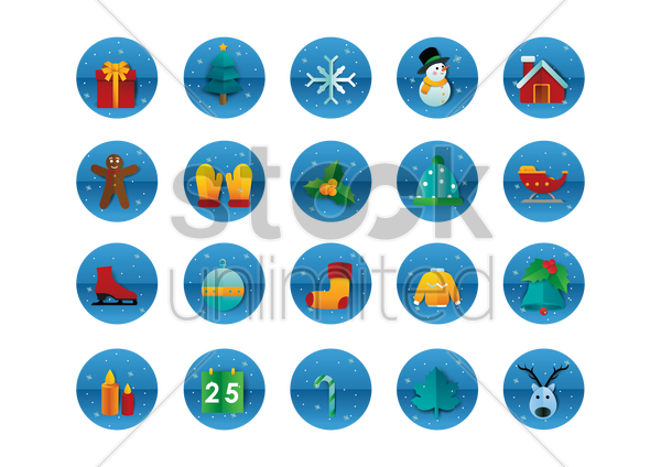 collection of christmas related objects vector graphic