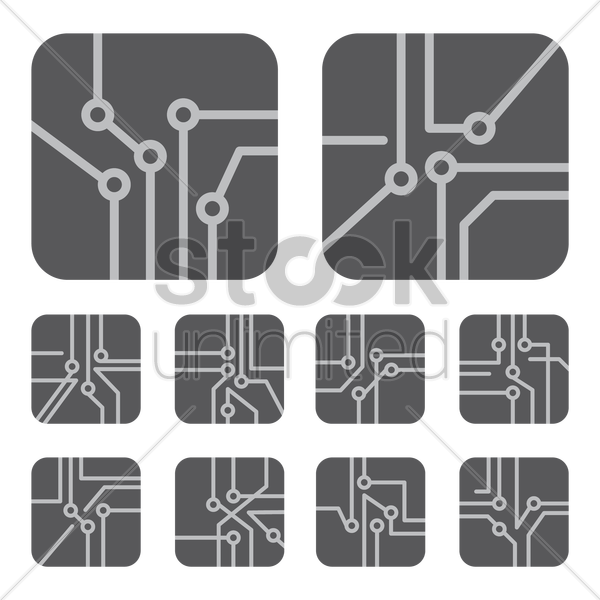 collection of circuit board designs vector graphic