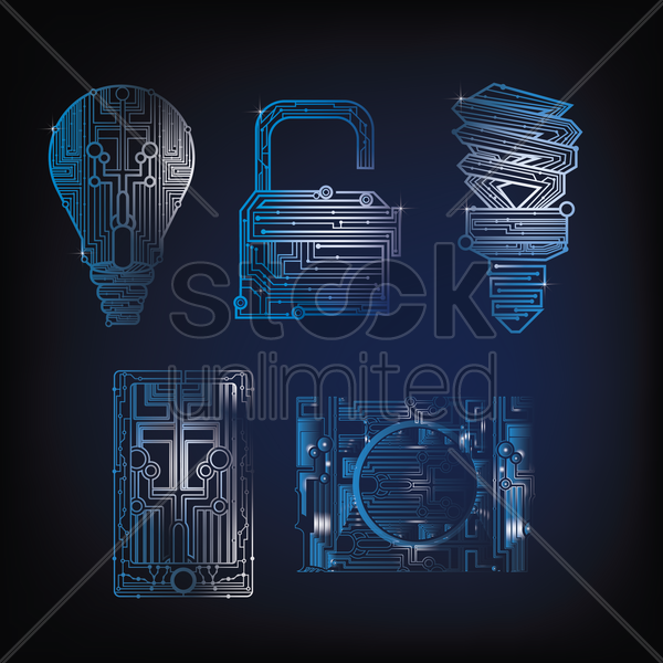 collection of circuit design shapes vector graphic