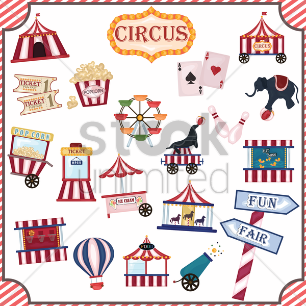collection of circus icons vector graphic