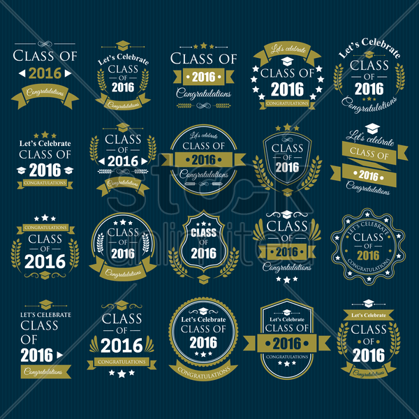 collection of class of 2016 design vector graphic