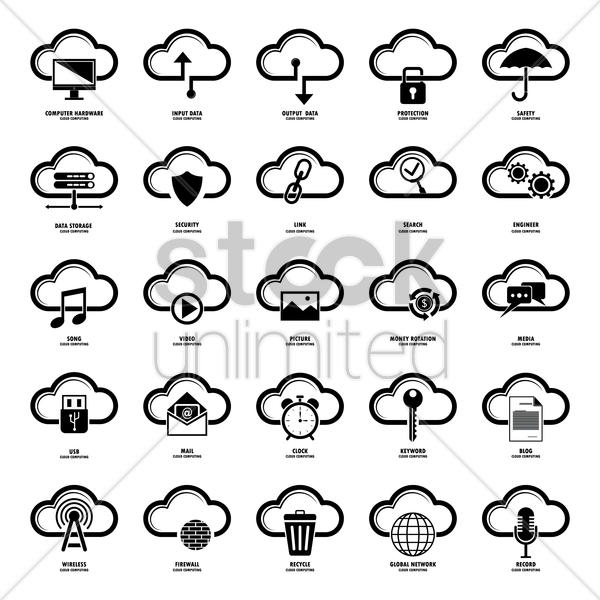 collection of cloud computing vector graphic