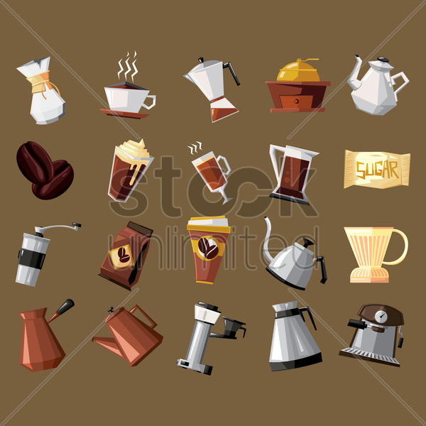 collection of coffee equipment vector graphic