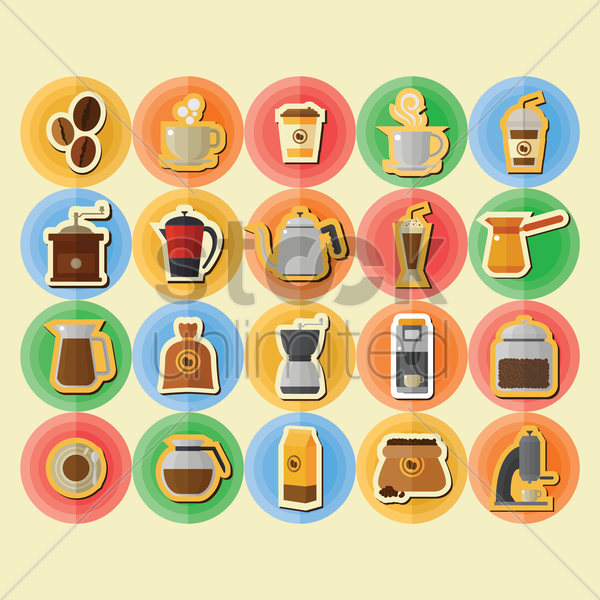 collection of coffee icons vector graphic
