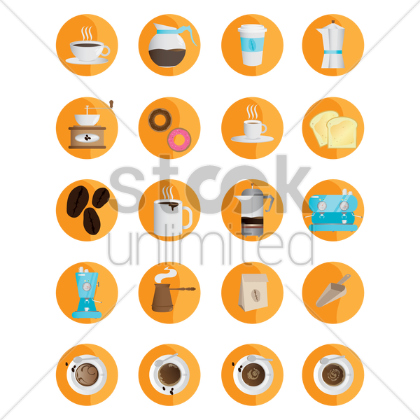 collection of coffee objects vector graphic