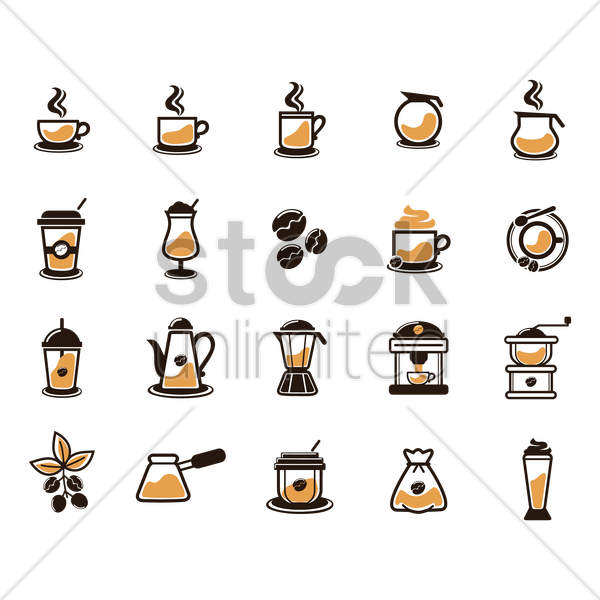 collection of coffee related items vector graphic