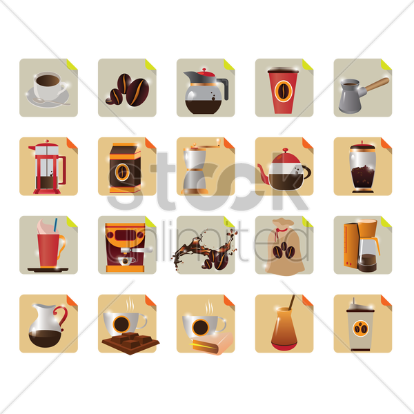 collection of coffee related objects vector graphic
