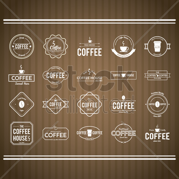 collection of coffee store sign vector graphic