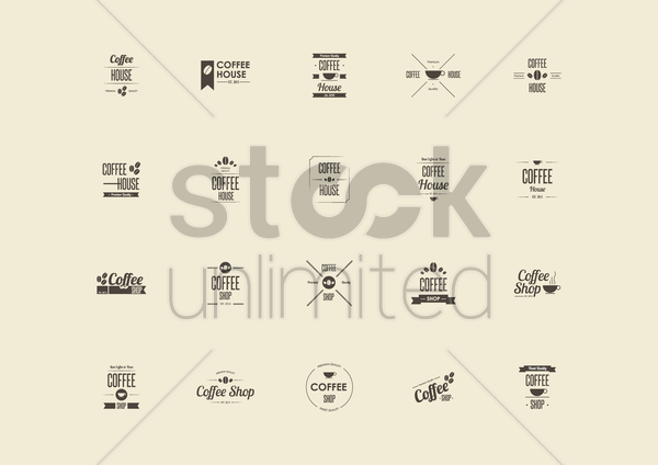 collection of coffee store signs vector graphic