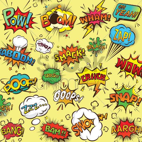 collection of comic bubbles vector graphic