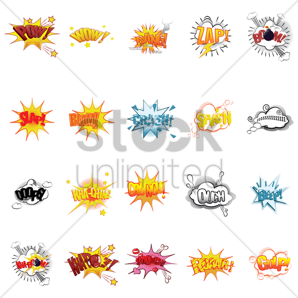 collection of comic effect vector graphic