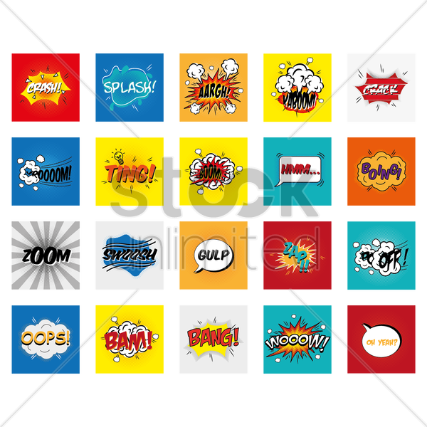 collection of comic effects vector graphic