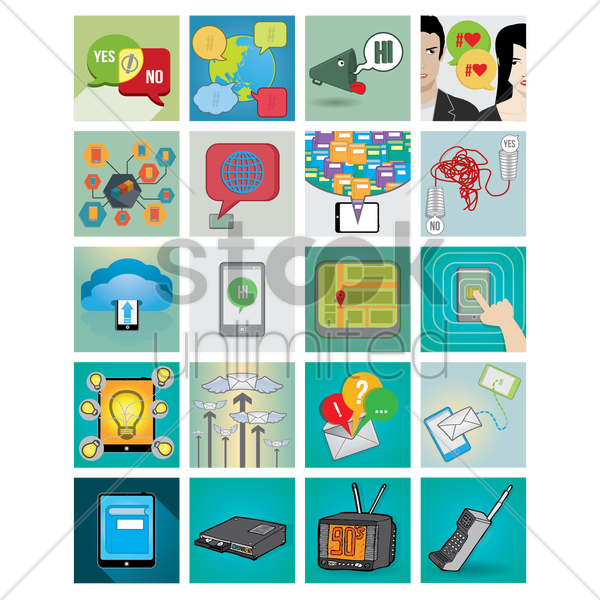 collection of communication icons vector graphic
