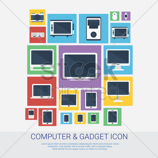 collection of computer and gadget icons vector graphic