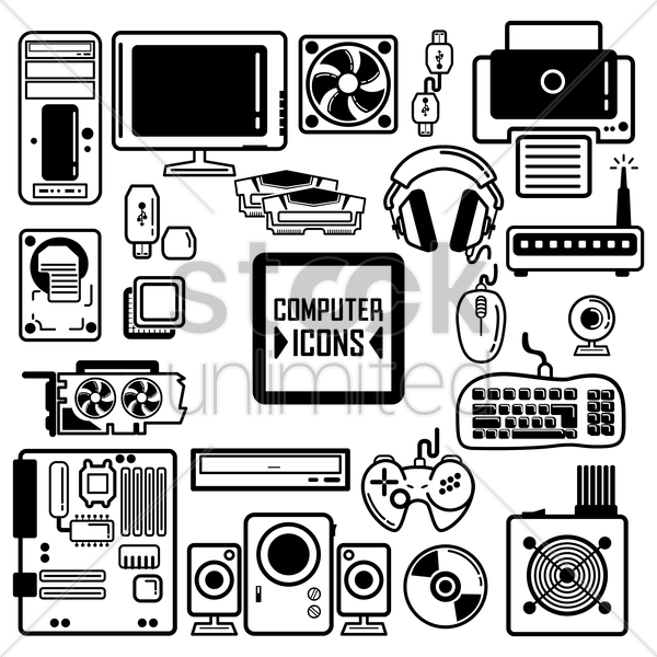 collection of computer components and peripherals vector graphic