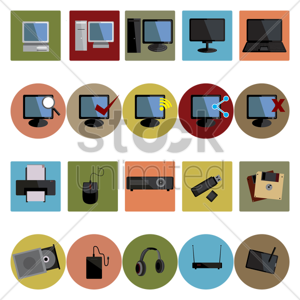 collection of computer devices vector graphic