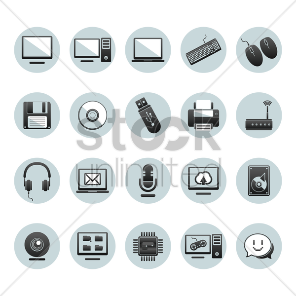 collection of computer icons vector graphic