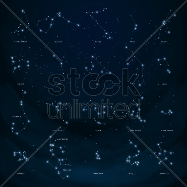 collection of constellations vector graphic