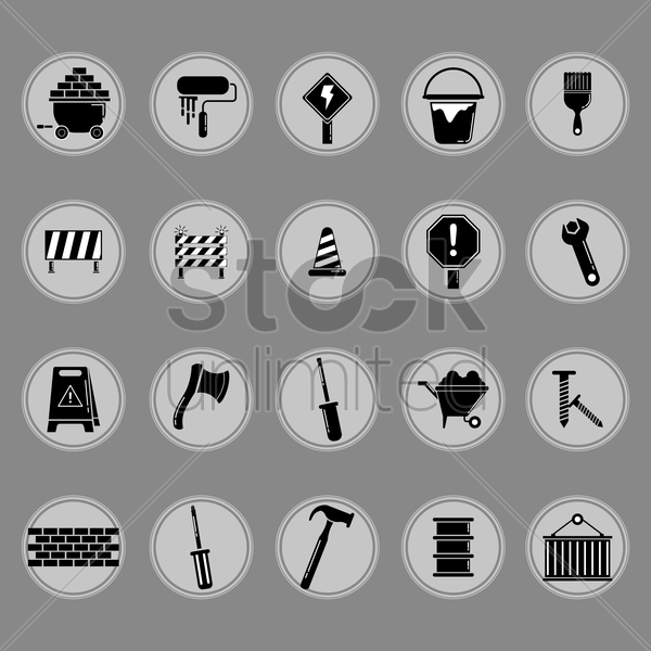 collection of construction equipment vector graphic