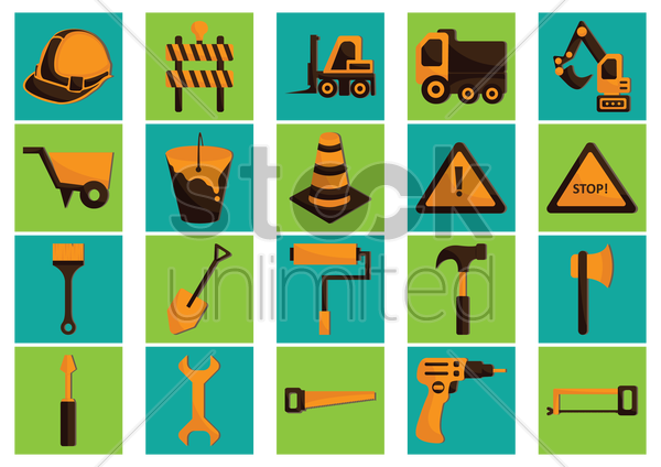 collection of construction icons vector graphic