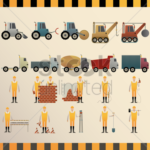 Free collection of construction machinery and workers vector graphic