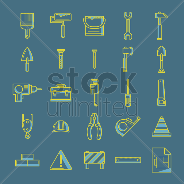 collection of construction tool icons vector graphic