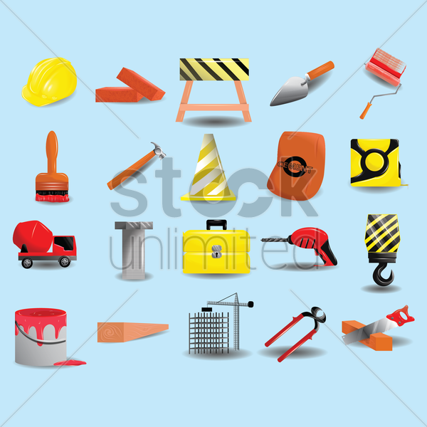 collection of construction tools and equipment vector graphic